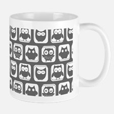 Dim Gray and White Owl Pattern Mug
