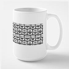 Dim Gray and White Owl Pattern Mug