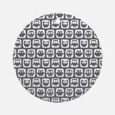 Dim Gray and White Owl Pattern Ornament (Round)