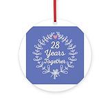 28th anniversary Round Ornaments