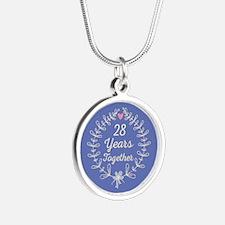 28th Wedding Anniversary Silver Round Necklace