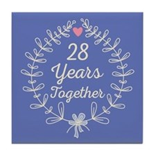 28th Wedding Anniversary Tile Coaster