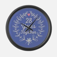 28th Wedding Anniversary Large Wall Clock