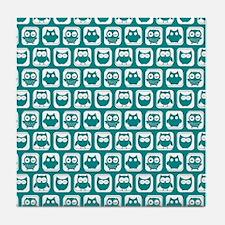 Dark Cyan and White Owl Pattern Tile Coaster