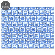 Corn Flower Blue and White Cute Owl Pattern Puzzle