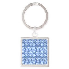 Corn Flower Blue and White Cute Ow Square Keychain