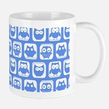 Corn Flower Blue and White Cute Owl Pat Mug