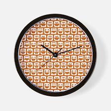 Cute Chocolate Owl Pattern Wall Clock