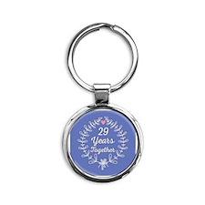 29th Wedding Anniversary Round Keychain