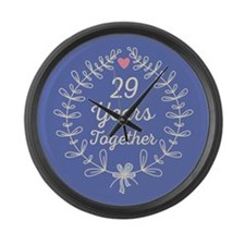 29th Wedding Anniversary Large Wall Clock