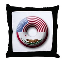 USA - California Flag Donut Throw Pillow