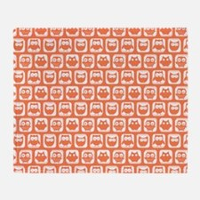 Coral and White Owl Pattern Backgrou Throw Blanket