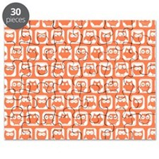 Coral and White Owl Pattern Background Desi Puzzle