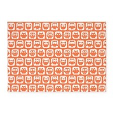 Coral and White Owl Pattern Backgro 5'x7'Area Rug