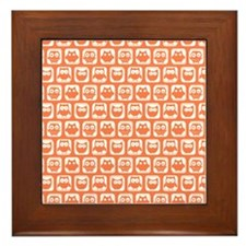 Coral and White Owl Pattern Background Framed Tile