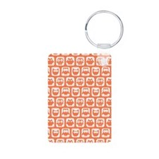 Coral and White Owl Patter Keychains