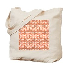 Coral and White Owl Pattern Background De Tote Bag