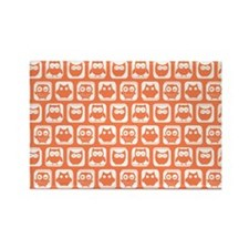 Coral and White Owl Pattern Backg Rectangle Magnet