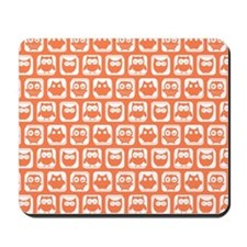 Coral and White Owl Pattern Background D Mousepad
