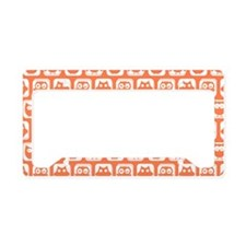Coral and White Owl Pattern B License Plate Holder