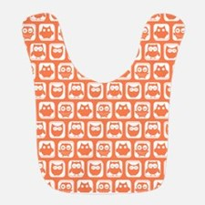 Coral and White Owl Pattern Background Design Bib
