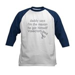 Daddy Got Vasectomy Kids Baseball Jersey