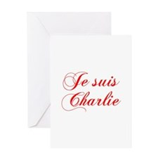 Je suis Charlie-Cho red Greeting Cards