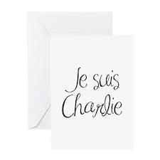 Je suis Charlie-MAS black Greeting Cards