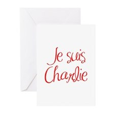 Je suis Charlie-MAS red Greeting Cards