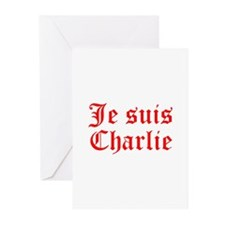 Je suis Charlie-Old red Greeting Cards