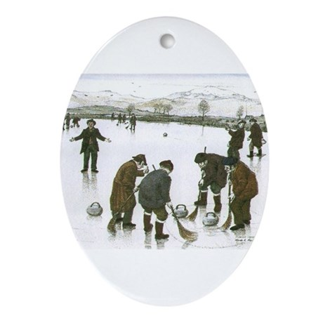 """Old time curling"" Oval Ornament"
