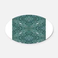 Turquoise tooled leather western c Oval Car Magnet
