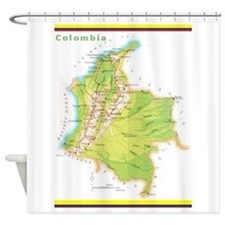 Colombia Green Map Shower Curtain