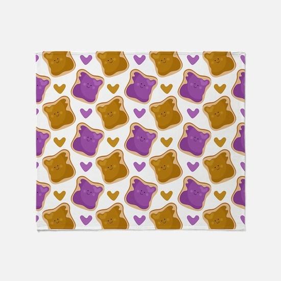 Kawaii PBJ Pattern Throw Blanket