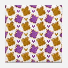 Kawaii PBJ Pattern Tile Coaster