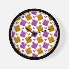 Kawaii PBJ Pattern Wall Clock