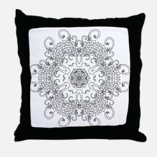 Leaves and Whirls Zen Mandala Throw Pillow