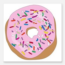"""Pink Donut with Sprinkle Square Car Magnet 3"""" x 3"""""""