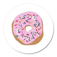Pink Donut with Sprinkles Round Car Magnet