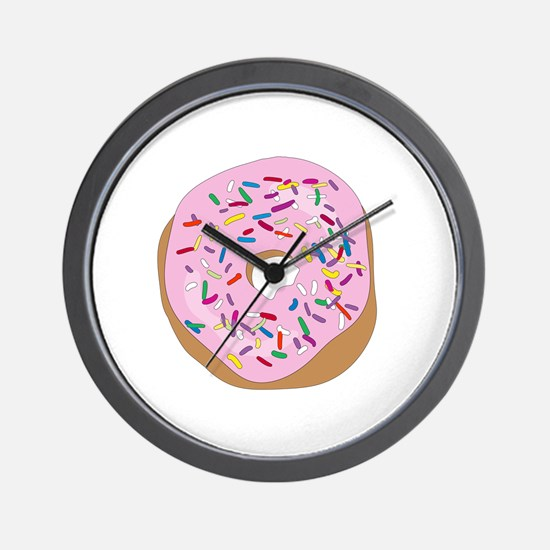 Pink Donut with Sprinkles Wall Clock
