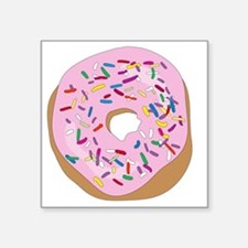 "Pink Donut with Sprinkles Square Sticker 3"" x 3"""