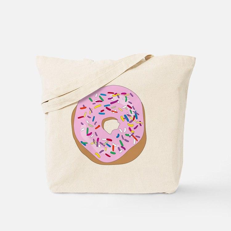 Pink Donut with Sprinkles Tote Bag