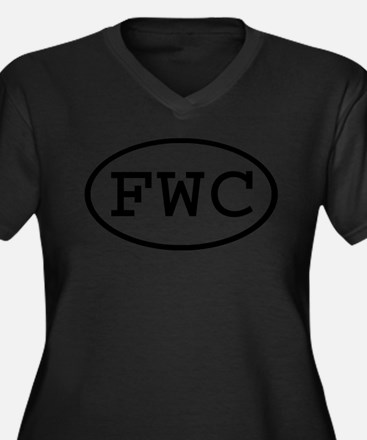 FWC Oval Women's Plus Size V-Neck Dark T-Shirt