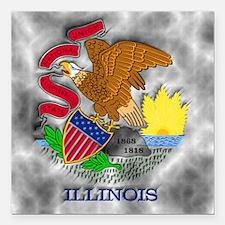 "Illinois State Flag Square Car Magnet 3"" x 3"""