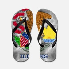 Illinois State Flag Flip Flops