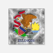 "Illinois State Flag Square Sticker 3"" x 3"""