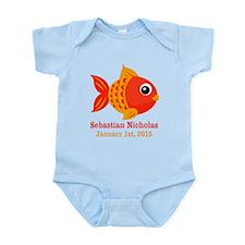 Red Fish CUSTOM Baby Name Birthdate Body Suit
