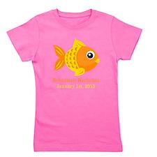 Goldfish CUSTOM Baby Name Birthdate Girl's Tee