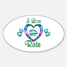 I Love Rats Sticker (Oval)