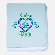 I Love Rats baby blanket